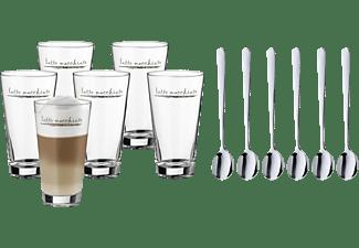 WMF 09.9626.9999 Latte Macchiato Glas, Latte Macchiato Löffel