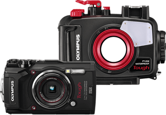 OLYMPUS Tough TG-5 Open Water Diver Kit Digitalkamera Rot/Schwarz, 4x opt. Zoom, LCD, WLAN