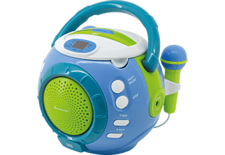 SOUNDMASTER Kinder-CD-Spieler KCD1600BL, Sing-a-long Funktion, 2 Mikrofone