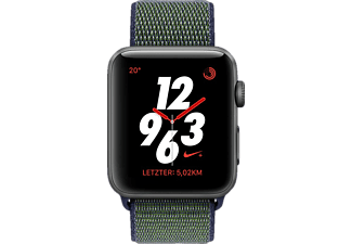 APPLE Nike Sport Loop, Smartwatch, gewebtes Nylon, 145 - 220 mm, Space Grey