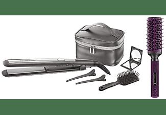Plancha de pelo - Remington S5560GP, Calentamiento rápido, Pantalla digital, Apagado automático