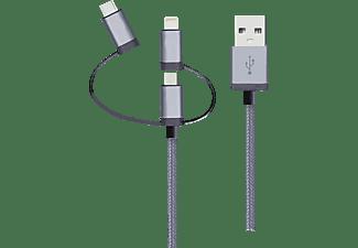 REALPOWER 3 in1 Kabel, Sync- und Ladekabel, 1 m, Grau