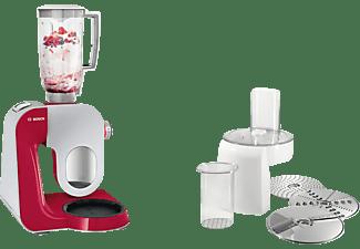 Robot de cocina - Bosch MUM58720, 1000W de potencia, múltiples accesorios, rojo