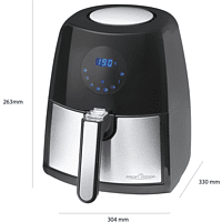 PROFI COOK PC-FR 1147 H Heißluftfritteuse 1500 Watt Edelstahl/Schwarz