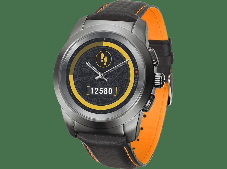 MYKRONOZ  Zetime Petite Premium Brushed Hybrid Smartwatch, Echtleder, 210 mm, Schwarz