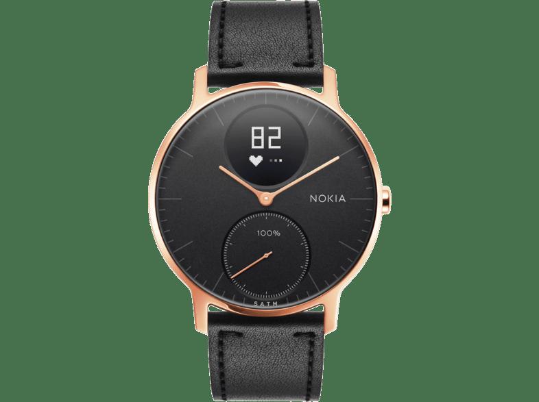NOKIA Steel HR 36mm rozéarany fekete bőr okosóra Media
