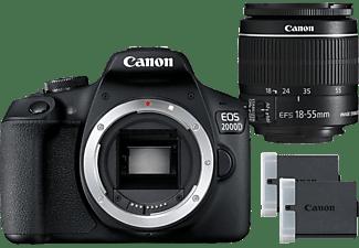 CANON Reflexcamera EOS 2000D + EF-S 18-55mm + Batterij LP-E10