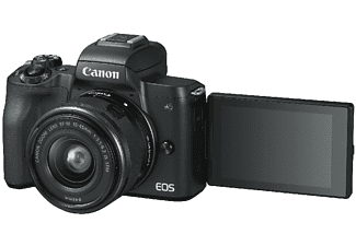 Cámara EVIL - Canon EOS M50, 24.1 MP, Sensor CMOS, 4K, Wi-Fi, Bluetooth, Negro + EF-M 15-45 IS STM