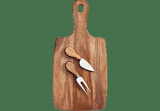 ZELLER 25597 Käseschneidebrett inkl. Käsegabel und Spatenmesser Holz/Akazie