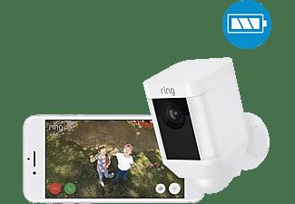 RING Spotlight Cam Battery - weiß, kabellose HD-Überwachungskamera, Licht, Sirene, Bewegungsmelder