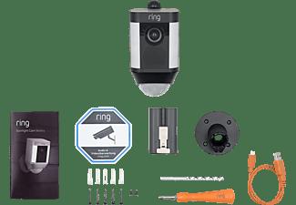 RING Spotlight Cam (Akku) - schwarz, kabellose HD-Überwachungskamera, Licht, Sirene, Bewegungsmelder