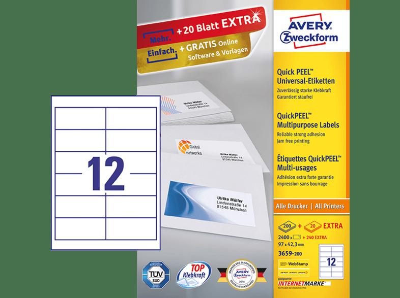 AVERY Zweckform Universal Etiketten 97 x 42,3 mm weiß 2.640 Etiketten