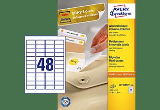 AVERY ZWECKFORM Universal-Etiketten, 45,7 x 21,2 mm, 100 Bogen/4.800 Etiketten, weiß (L4736REV-100)