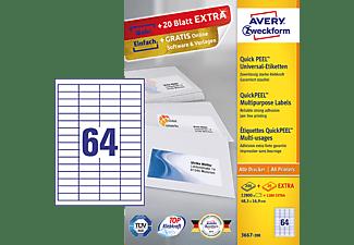 AVERY ZWECKFORM Universal-Etiketten, 48,5 x 16,9 mm, 220 Bogen/14.080 Etiketten, weiß (3667-200)