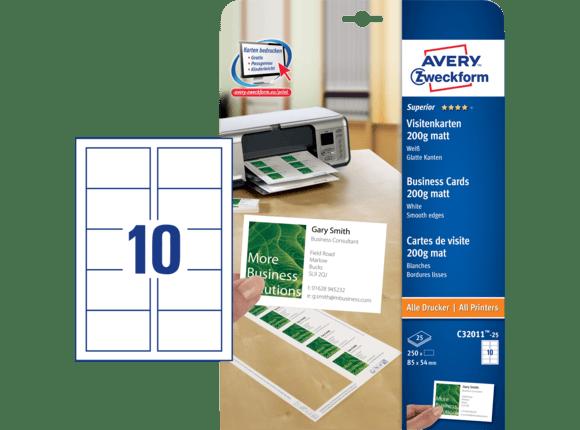 Avery Zweckform Visitenkarten 85 X 54 Mm Einseitig