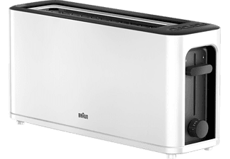 Tostadora - Braun HT3100WH, 1000 W, Función descongelado, 7 ajustes de tueste, Blanco