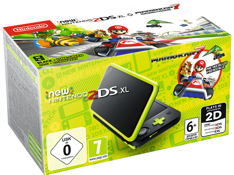 NINTENDO New Nintendo 2DS XL Schwarz+Apfelgrün inkl. Mario Kart 7