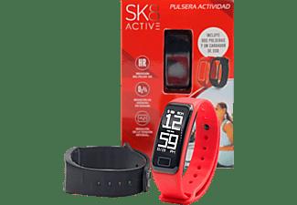 Pulsera de actividad - SK8 Active, Frecuencia cardíaca, Sumergible hasta 0.5 metros, Reloj, Rojo