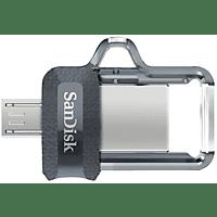 Memoria USB 64 GB - SanDisk Ultra Dual Drive m3.0, Micro USB y USB 3.0, 130 MB/s, Con Memory Zone, OTG, Gris