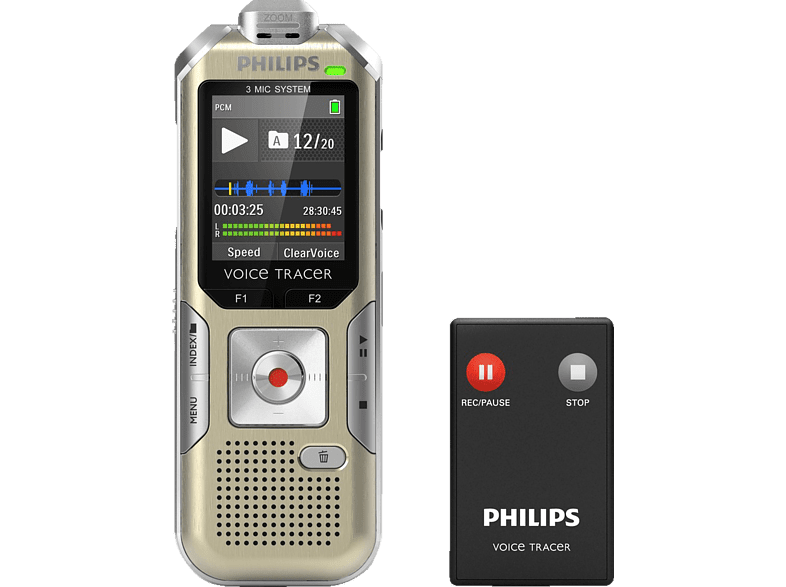 PHILIPS VoiceTracer Audiorecorder DVT6510 Audiorecorder, Champagner/silbergrau
