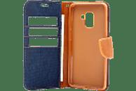 AGM Fashion , Bookcover, Samsung, Galaxy A8 (2018), Obermaterial Stoff, Navy Blau