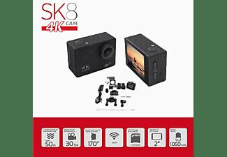 Cámara deportiva - SK8 Cam 4K, Vídeo Ultra HD, WiFi, Super angular, Pantalla LCD