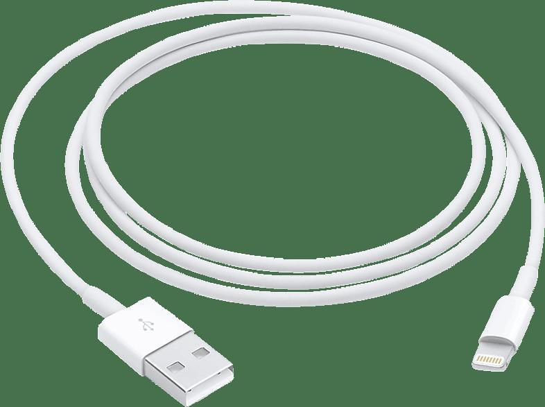 APPLE Lightning auf USB, Datenkabel/Ladekabel, 1 m, Weiß