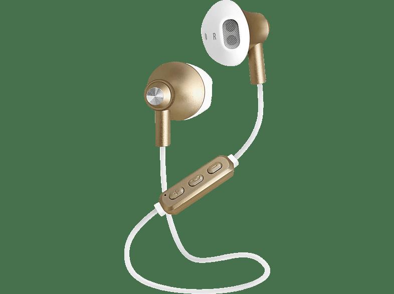 SBS-MOBILE TESLEARSHYNYBT, In-ear Kopfhörer Bluetooth Weiß/Gold