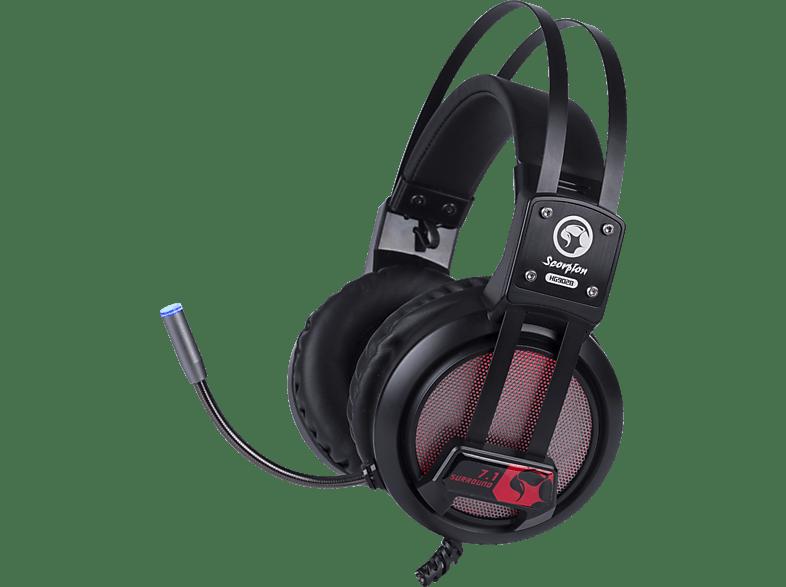 MARVO HG9028 kabelgeb. 7.1 Virtual Surround USB Gaming Headset Gaming Headset Schwarz/Rot