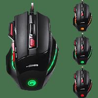MARVO M315 + G1 7-Tasten Gaming Maus, Combo-Set inkl. Gaming Mauspad Gaming Maus + Mauspad, Schwarz/Rot