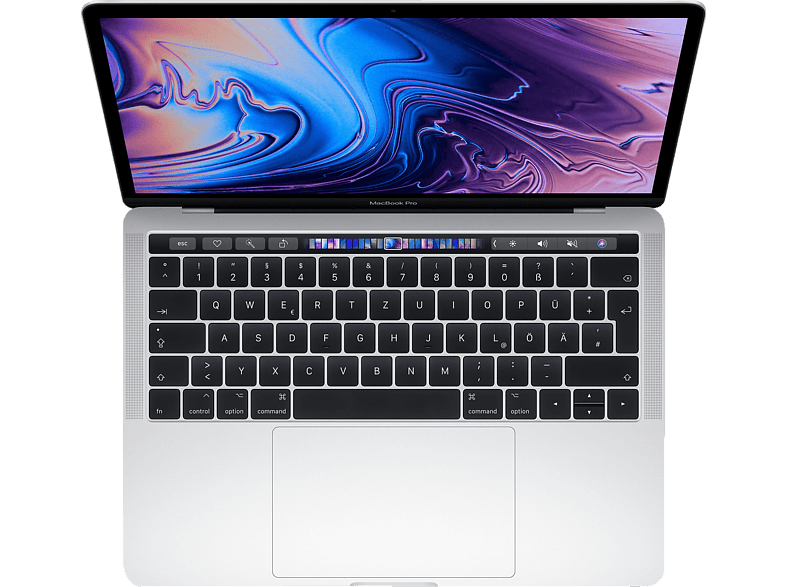 APPLE MacBook Pro MR9U2D/A-139516 mit britischer Tastatur, Notebook mit 13.3 Zoll Display, Core i7 Prozessor, 256 GB SSD, Intel® Iris™ Plus-Grafik 655, Silber