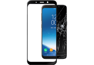 CELLULAR-LINE Samsung Galaxy A8 18 Screenprotector Temp Glass Caps Zwart
