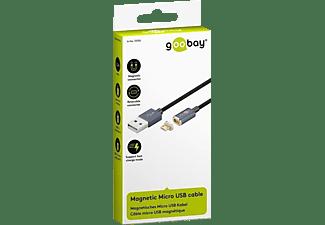 GOOBAY Magnetisches Micro USB Kabel 1.2m schwarz