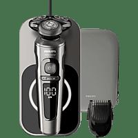 PHILIPS SP9860/16 elektrischer Nass- und Trockenrasierer Serie 9000 Prestige, silber-schwarz