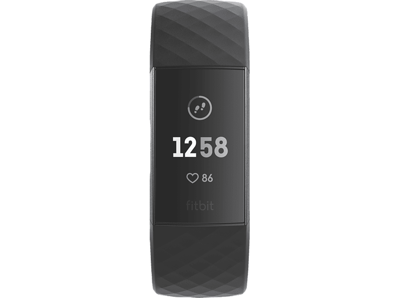 FITBIT Charge 3, Fitnesstracker, S: 140 mm - 180 mm, L: 180mm - 220 mm, Graphit