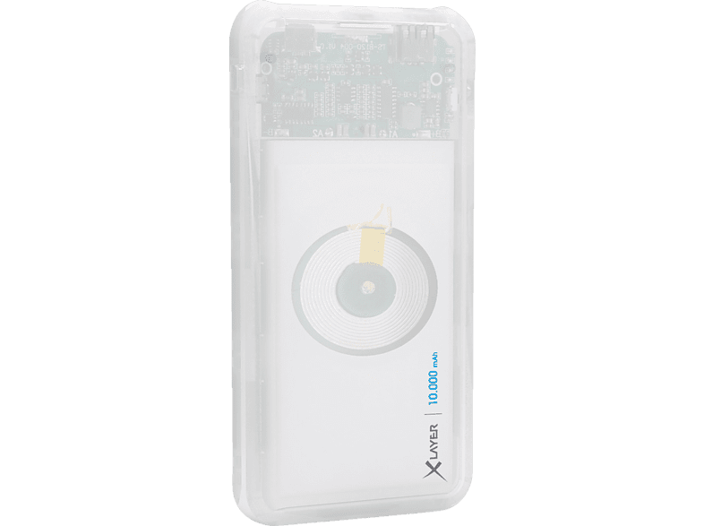 XLAYER PLUS Wireless Discover Powerbank 37.0 Wh (3.7V / 10.000 mAh) Transparent/Weiß