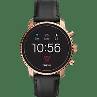 FOSSIL FTW 4017 Explorist HR Smartwatch Edelstahl Echtleder, 200 mm, Schwarz/Rosegold