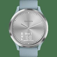 GARMIN VIVOMOVE HR, Smartwatch, S/M: 122 bis 188 mm Umfang, Silber mit blaugrünem Silikonarmband