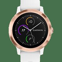 GARMIN  VIVOACTIVE 3 Smartwatch, Silikon, 127 bis 204 mm Umfang, Weiß/Silikon/Roségold