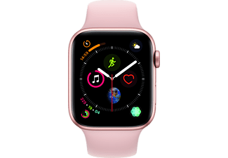 APPLE Watch Series 4 GPS Gold, 44 mm Aluminiumgehäuse mit Sportarmband Sandrosa (MU6F2FD/A)