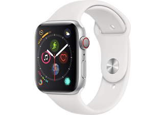 APPLE Watch Series 4 GPS + Cellular eSIM 44mm Aluminiumboett i Silver - Sportband i Vitt