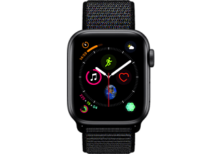 APPLE Watch Series 4 GPS Space Grau, 40 mm Aluminiumgehäuse mit Sport Loop Schwarz (MU672FD/A)