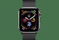 APPLE Watch Series 4 GPS + Cellular Schwarz, 44 mm Edelstahlgehäuse mit Milanaise-Armband Schwarz