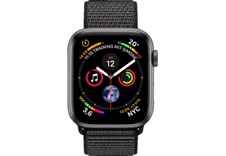 APPLE Watch Series 4 GPS + Cellular Space Grau, 44 mm Aluminiumgehäuse mit Sport Loop Schwarz