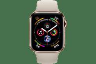 APPLE Watch Series 4 GPS + Cellular Gold, 44 mm Edelstahlgehäuse mit Sportarmband Steingrau