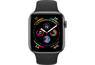 APPLE Watch Series 4 GPS + Cellular Space Grau, 44 mm Aluminiumgehäuse mit Sportarmband Schwarz