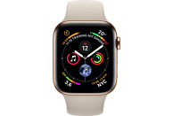 APPLE Watch Series 4 (GPS + Cellular) 40 mm Smartwatch Edelstahl Kunststoff, 130-200 mm, Armband: Beige, Gehäuse: Gold