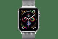 APPLE Watch Series 4 (GPS + Cellular) 40 mm Smartwatch Edelstahl Milanaise, 130-200 mm, Armband: Silber, Gehäuse: Silber