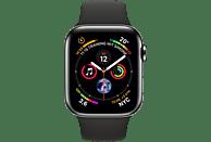 APPLE Watch Series 4 GPS + Cellular Schwarz, 44 mm Edelstahlgehäuse mit Sportarmband Schwarz