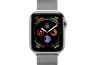 APPLE Watch Series 4 GPS + Cellular Silber, 44 mm Edelstahlgehäuse mit Milanaise-Armband Silber